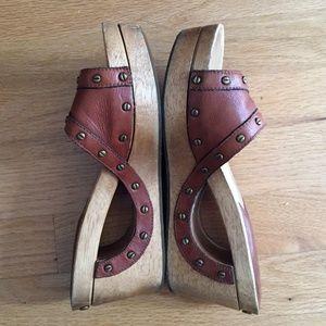 Michael Kors Wooden Slip On Leather Slides, size 7